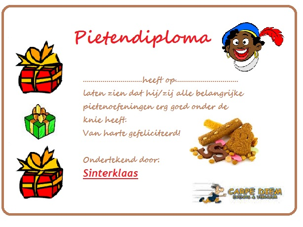 pieten-diploma halen bij Carpe Diem Events & Verhuur met onze Sinterklaas Spellen